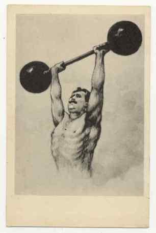 Imagen de fisicoculturista. Anuncio de 1936.
